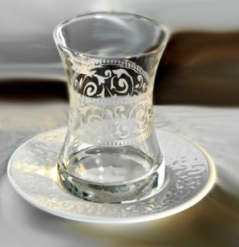 Kütahya Porselen Acelya Teeglas Set, Porzellan Unterteller, 12 teilig
